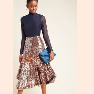 ANTHROPOLOGIE LEONITA SEQUINED MIDI SKIRT